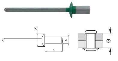 POP nýt vodotěsný 4,0x95mm v barvě RAL (100ks/bal) OMAK ROOF