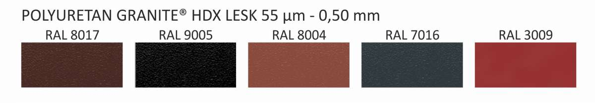 PLECH OMAK PU HDX Granite Lesk 55 (0,5x1250x2000) OMAK ROOF