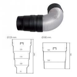 Odvětrávací komínek VITRIUM (sanitární) 160mm (do taškových plechových krytin) MDM