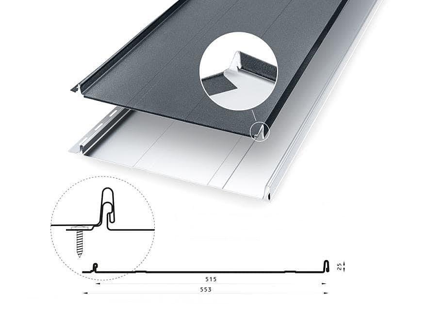 Velkoformátová falcovaná plechová krytina KLIK PUREX (SSAB) (CENA NA DOTAZ) UNIPLECH