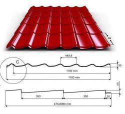 Levná plechová krytina VĚRA - MAT PE 35 tašková tabule (plech Arcelor Mittal) UNIPLECH
