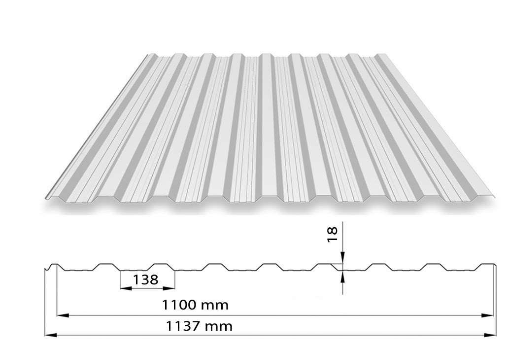 UNI - TRAPÉZOVÝ PLECH T18 ARCELOR MAT PE35 (střešní a fasádní profil) UNIPLECH