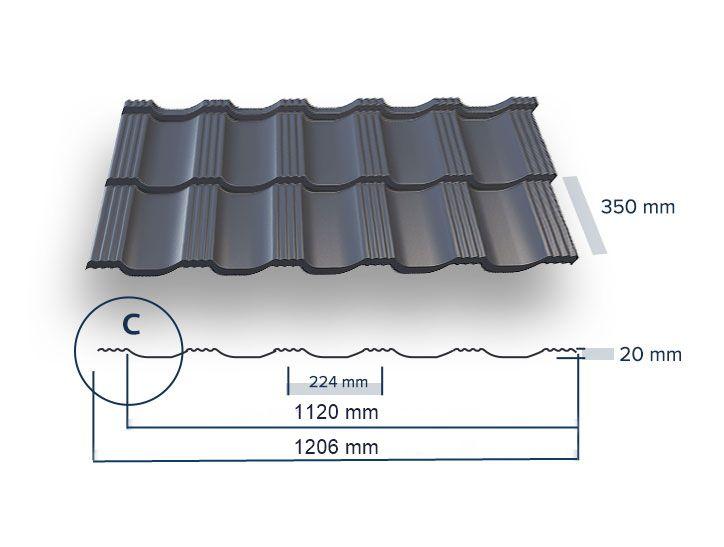 UNI - AMI ARCELOR Mat PE35 - tašková tabule plechová krytina UNIPLECH