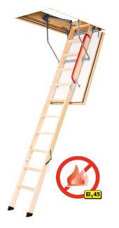 Protipožární schody s dřevěným skládacím žebříkem LWF 45 FAKRO
