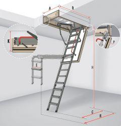Protipožární schody s kovovým skládacím žebříkem LMF 45 FAKRO