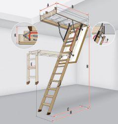 Schody s dřevěným skládacím žebříkem LWS Smart FAKRO