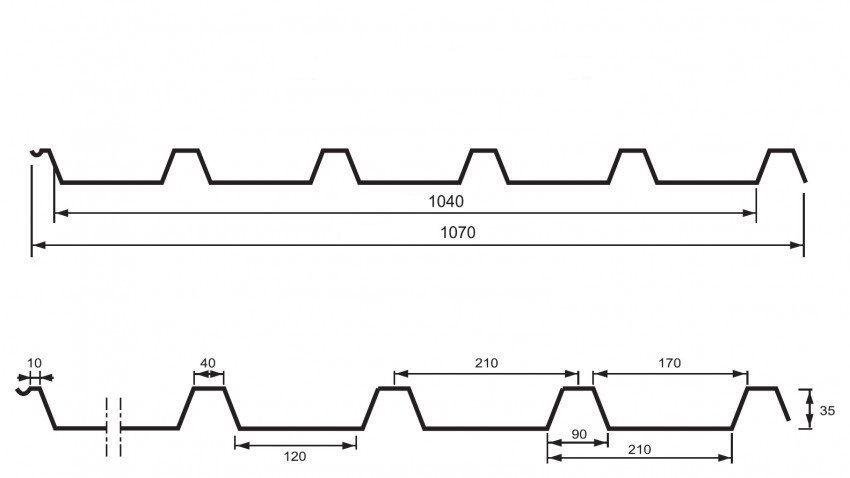 UNI - TRAPÉZOVÝ PLECH T35 (střešní a fasádní profil) UNIPLECH