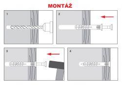 Zatloukací hmoždinka se zápustným límcem s vrutem se zápustnou hlavou nylón Ø 5-10 mm KLIMAS