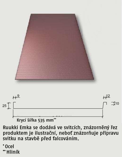 Falcovaná krytina (svitky) Emka 0,8 hliník Ruukki